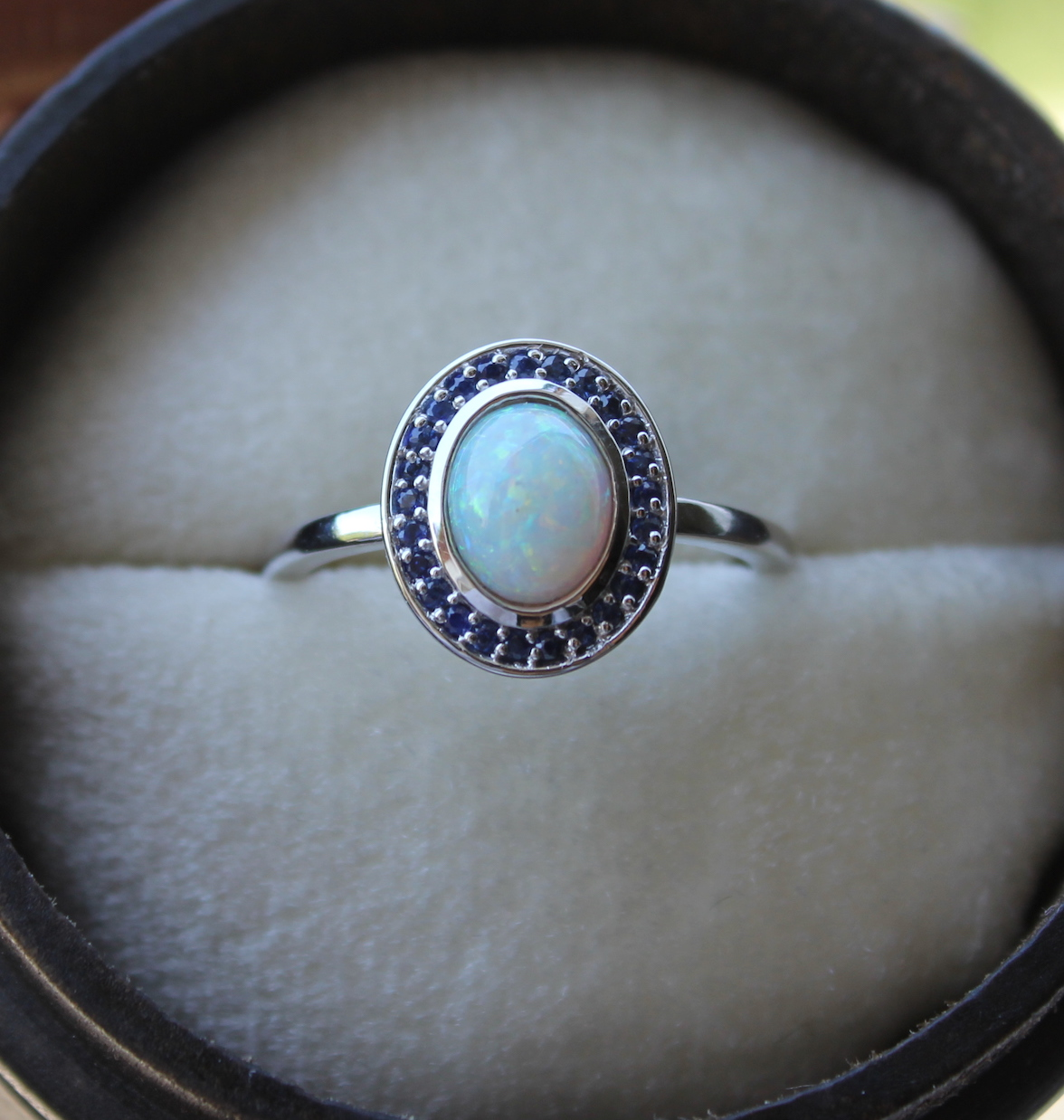 Australian Opal And Blue Sapphire Engagement Ring Gili Mor